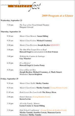 2009 WritersFest program Guide link